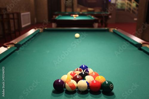 Staande foto billiards, billiard balls on the table