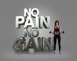 Sport woman holding a dumbells on the background Motivational fitness phrases poster
