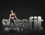Sport woman holding a hammer on the background Motivational fitness phrases poster
