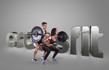 Athletic young man and beauty woman lifting a rod on the gray background Motivational fitness phrases poster