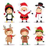 Cute kids wearing Christmas costumes