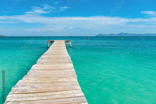 Wooden jetty in the turquoise sea of Mallorca - 7138