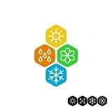 Fototapety All season symbol. Winter snowflake, spring flower, summer sun,