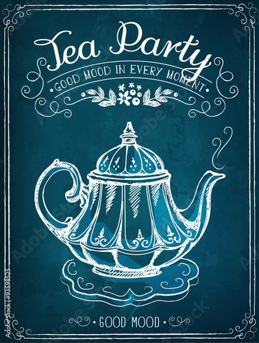 Retro illustration Time for tea with teapot
