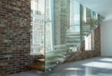 Scala retta con trave gradino in legno e parapetto in vetro vista laterale