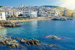 Obrazy na płótnie, fototapety, zdjęcia, fotoobrazy drukowane : White houses on seaside. Coastal town Calella de Palafrugell on
