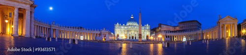 Poster Donkerblauw Roma Piazza del Vaticano San Pietro