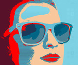 Fototapety Young woman portret with sunglasses in pop-art style
