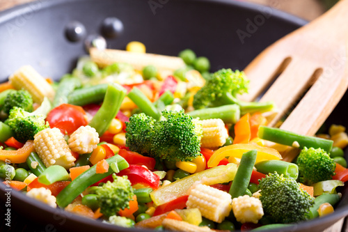 Poster stir fried vegetables