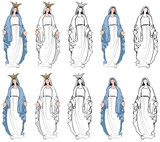 Vector illustrations of the Virgin Mary - 93626167