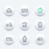 Fototapety City transport, tram, train, bus, bike, taxi, trolleybus, line round modern icons, vector illustration
