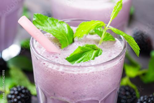 Fototapeta Milk cocktail with blackberry