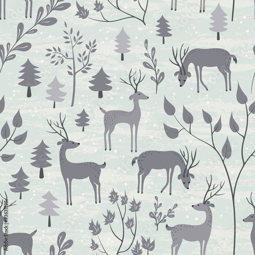 Seamless pattern with deer in winter forest - 93631525