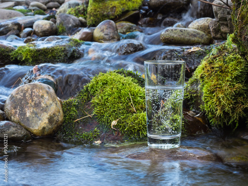 Mineral water in a glass - 93632121