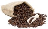 Fototapety Kaffee Sack mit Kaffee Bohnen und Schaufel
