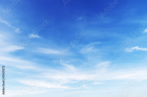 Fototapeta Fantastic soft white clouds against blue sky background