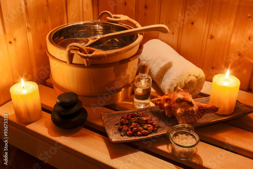 Deurstickers Ontspanning Wellness und Spa in der Sauna