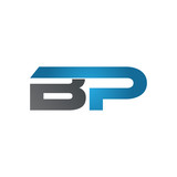 BP company linked letter logo blue