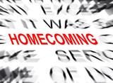 Blured text with focus on HOMECOMING poster