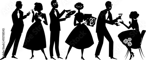 Vector silhouette of people dressed in 1950s fashion at the party, socializing, EPS 8, no white objects, black only