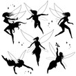 group of pretty fairies in silhouette