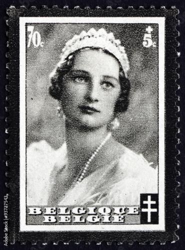 Poster Postage stamp Belgium 1935 Queen Astrid