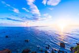 Fototapety Sunrise, sea, landscape. Okinawa, Japan, Asia.