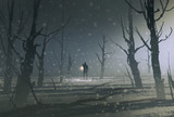 Fototapety man holding lantern stands in dark forest with fog,illustration painting