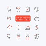 Fototapety Dental care thin line trendy icons. Vector illustration