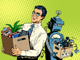 Fototapety Man beats robot business concept knowledge and technology