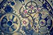 Leinwanddruck Bild close macro  view of watch mechanism