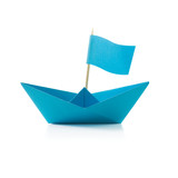 Blue paper boat with flag