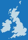 White square map of United Kingdom and Ireland. Vector illustration.