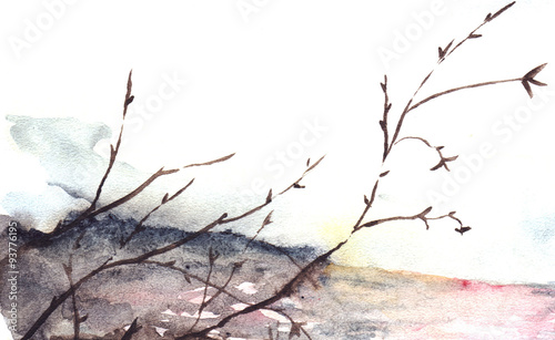 Watercolor spring autumn tree river cost landscape © Silmairel