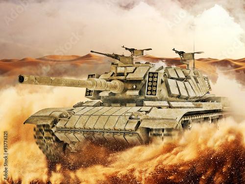 Battle Tank moves in the hot desert