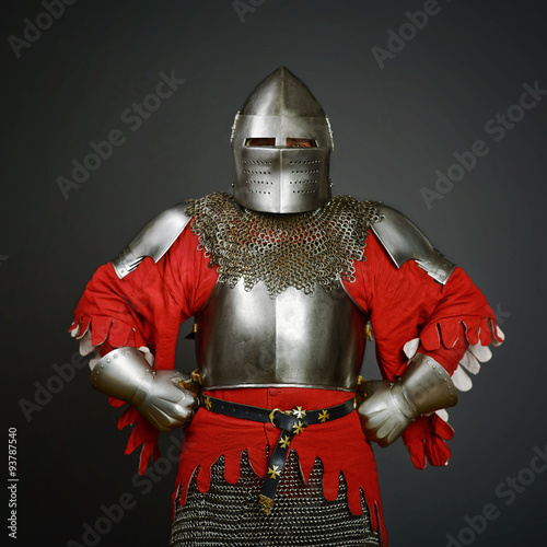 Poster Medieval knight on grey background