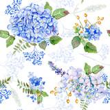 Seamless pattern. Vector watercolor blue hydrangea, lavender. - 93792514