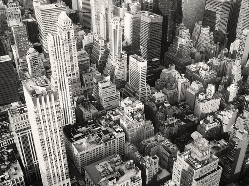 Black and white view of midtown New York City - 93794571