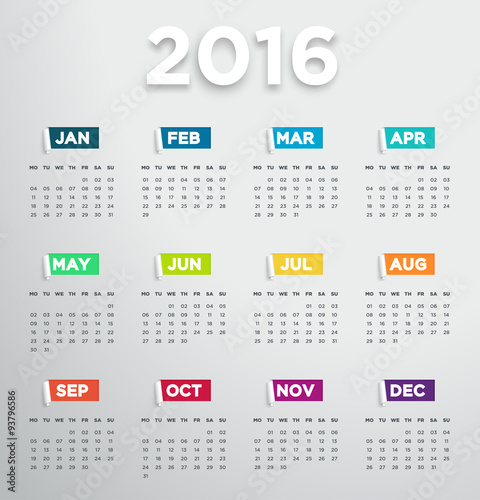 ... : 2016 Calendar With Modern Days And Months In 3D Paper Cut Out Notes