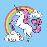 Cartoon vector unicorn with rainbow and clouds.