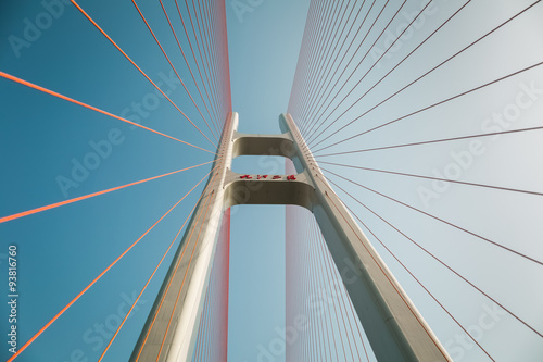 Fridge magnet cable stayed bridge closeup