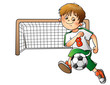 Boy playing football isolated on white