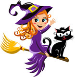 Young witch and black cat flying on a broom isolated
