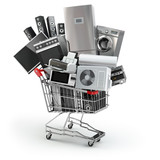 Home appliances in the shopping cart. E-commerce or online shopp