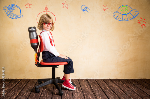 Young businessman with jetpack Poster
