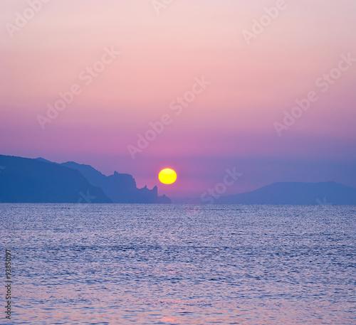 Fototapeta Morning landscape with sunrise over sea
