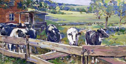 malerei landschaft kühe