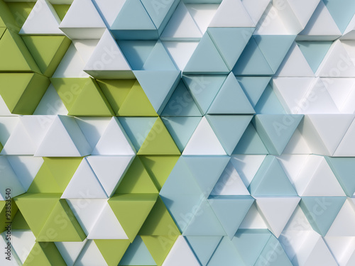 Fototapeta na wymiar Green and blue abstract 3d triangle background