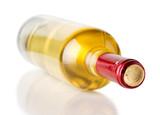 bottle of white wine isolated on the white background