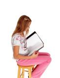 Schoolgirl writing in her schoolbook. poster